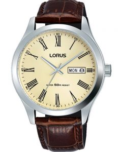 Lorus Mens Cream Date Dial Brown Leather Strap Watch RXN53DX9