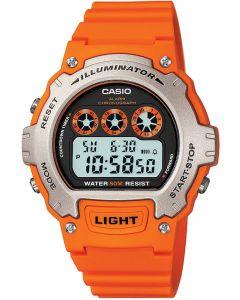 Casio CASIO Collection Digital Orange Plastic Strap Watch W-214H-4AVEF