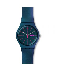 Swatch Mens New Gentleman Iridescent Rubber Strap Watch SUON708