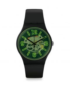 Swatch Unisex YellowBoost Black Rubber Strap Watch SUOB166