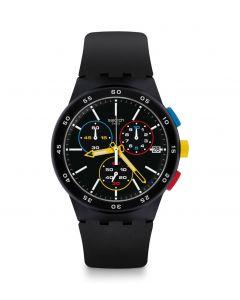 Swatch Unisex Black-One Chronograpgh Black Rubber Strap Watch SUSB416