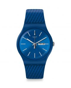 Swatch Unisex Bricablue Blue Rubber Strap Watch SUON711