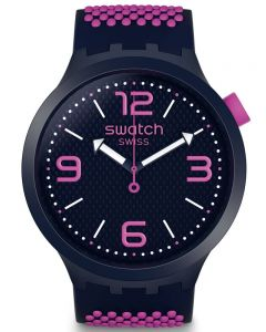 Swatch Unisex BBCandy Blue & Pink Rubber Strap Watch SO27N103
