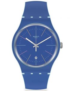 Swatch Blue Layered Rubber Strap Watch SUOS403