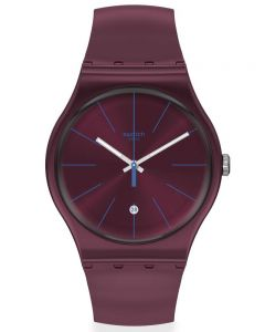 Swatch Burgundazing Dark Red Rubber Strap Watch SUOR402