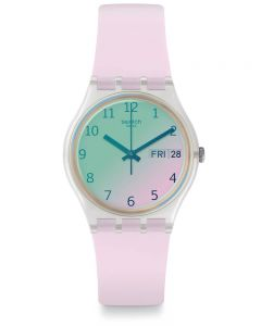 Swatch Ultrarose Bubblegum Pink White Rubber Strap Watch GE714