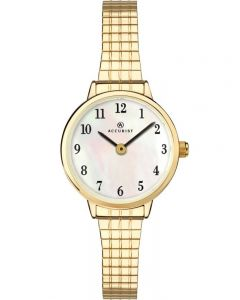Accurist Ladies Gold Plated Mother Of Pearl Expandable Watch 8208