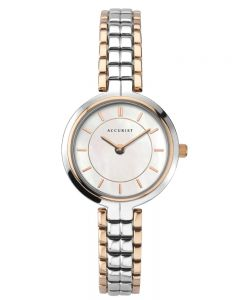 Accurist Ladies Classic Two Colour Rose Gold Plated Mother Of Pearl Dial Bracelet Watch 8302
