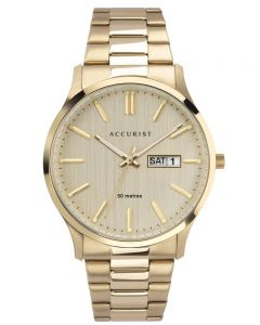 Accurist Mens Classic Gold Plated Champagne Day Date Dial Bracelet Watch 7303