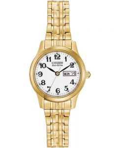 Citizen Ladies Corso Gold Tone Expandable Bracelet Watch EW3152-95A