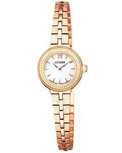 Citizen Ladies Ecodrive Rose Gold Plated White Dial Bracelet Watch EG2984-59A