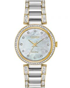 Citizen Ladies Silhouette Crystal Mother Of Pearl Dial Two Tone Bracelet Watch EM0844-58D