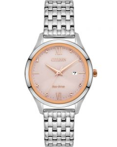 Citizen Ladies Eco-Drive Pink Date Dial Stainless Steel Bracelet Watch EW2538-85X