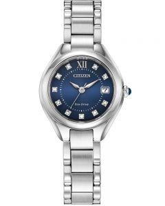 Citizen Ladies Silhouette Crystal Blue Dial Stainless Steel Bracelet Watch EW2540-83L