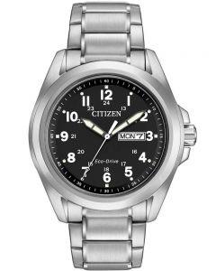 Citizen Mens Chandler Day-Date Black Dial Bracelet Watch AW0050-82E
