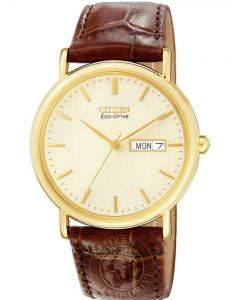 Citizen Mens Stiletto Gold Plated Brown Leather Strap Watch BM8242-08P
