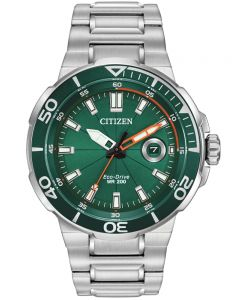 Citizen Mens Endeavor Eco-Drive Green Dial Stainless Steel Bracelet  Watch AW1428-53X
