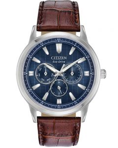 Citizen Mens Corso Stainless Steel Blue Day Date Dial Brown Leather Strap Watch BU2070-12L