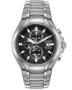 Citizen Mens Super Titanium Black Chronograph Dial Bracelet Watch CA0700-86E