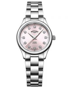 Rotary Ladies Oxford Diamond-Set Pink Bracelet Watch LB05092/07/D