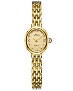 Rotary Ladies Balmoral Gold Plated Diamond Set Gold Dial Bracelet Watch LB05151/03/D