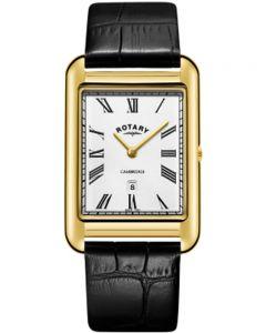 Rotary Mens Cambridge Gold Plated Rectangular Watch GS05283/01