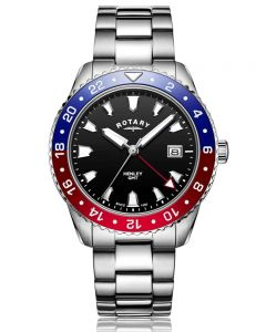 Rotary Mens Henley GMT Stainless Steel Red Blue And Black Dial Bracelet Watch GB05108/30