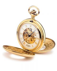 Rotary Mens Gold Plated Double Half Hunter Pocket Watch MP00713-01