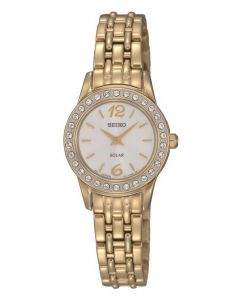 Seiko Ladies Discover More Solar Gold Plated Bracelet Watch SUP128P9