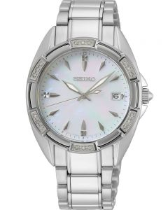 Seiko Ladies Mother Of Pearl Dial Diamond Set Bezel Stainless Steel Bracelet Watch SKK883P1