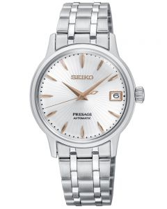 Seiko Ladies Presage Cocktail Automatic Silver and Rose Gold Date Dial Stainless Steel Bracelet Watch SRP855J1