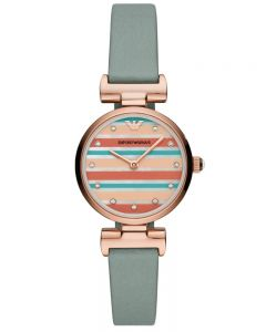 Emporio Armani Ladies T-Bar Rose Gold Plated Multicolour Dial Blue Reversible Strap Watch AR11292