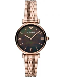 Emporio Armani T-Bar Rose Gold Plated Bracelet Watch AR11145