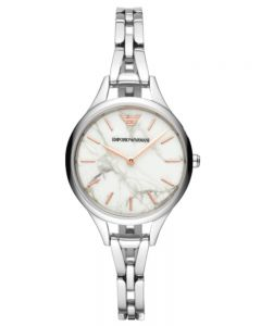 Emporio Armani Ladies White Marble Dial Narrow Bracelet Watch AR11167
