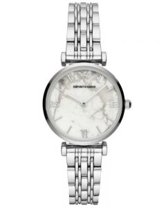 Emporio Armani Ladies White Marble Dial Bracelet Watch AR11170