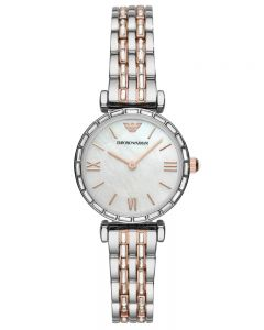 Emporio Armani Ladies Mother Of Pearl Two Tone Crystal Set Bracelet Watch AR11290