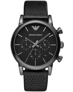 Emporio Armani Mens Chronograph Leather Strap Watch AR1737