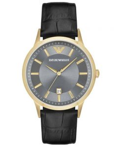 Emporio Armani Ladies Gold Plated Black Strap Watch AR11049
