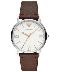 Emporio Armani Mens White Dial Brown Leather Strap Watch AR11173