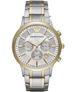 Emporio Armani Mens Two Tone Chronograph Bracelet Watch AR11076