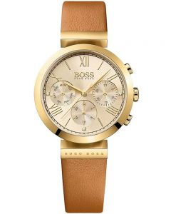 BOSS Ladies Classic Sport Brown Leather Strap Watch 1502396