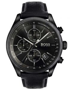 BOSS Mens Grand Prix Chronograph Black Leather Strap Watch 1513474