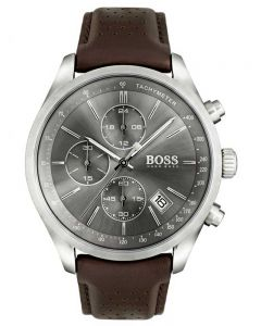 BOSS Mens Grand Prix Chronograph Brown Leather Strap Watch 1513476