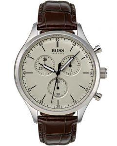 BOSS Mens Companion Chronograph Brown Leather Strap Watch 1513544