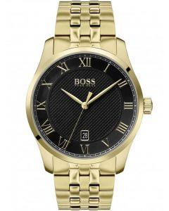 BOSS Mens Master Black Dial Gold Bracelet Watch 1513739