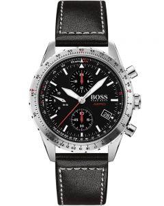 BOSS Mens Aero Black Chronograph Dial Leather Strap Watch 1513770