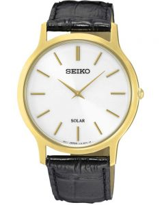 Seiko Mens Discover More Solar Gold Plated Leather Strap Watch SUP872P1