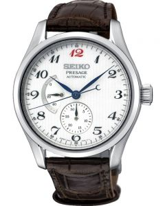 Seiko Mens Presage Prestige Automatic Brown Leather Strap Watch SPB059J1