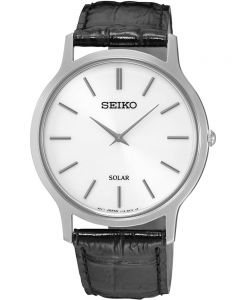 Seiko Mens Discover More Solar Black Leather Strap Watch SUP873P1