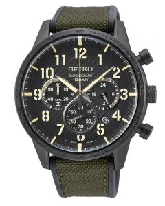 Seiko Mens Neo Sports Textured Black Chronograph Dial Green Canvas Rubber Strap Watch SSB369P1